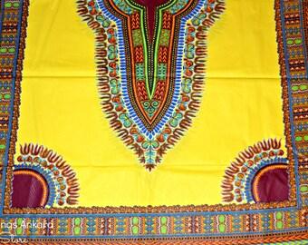 Yellow Dashiki Wax Prints African Ankara Fabric Per Panel