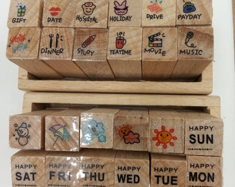 Korean Mini Daily Use Planner Wood 12pcs Stamp set A/B perfect  for traveler's, weekly planner, erin condren, kikki k