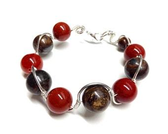 Rigid bracelet fire agate and bronzite (orange and Brown)