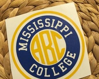 Mississippi College Monogrammed Vinyl Decal
