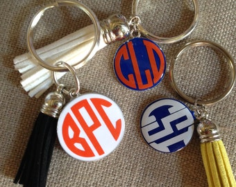 Monogrammed Disc & Tassel Key Ring