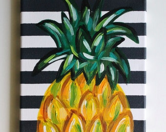 pineapple painting. Pineapple Art, Painting, Kitchen Dining Room Bar Cart, Painting N