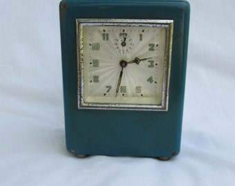 Old alarm clock GLOBUS mechanical Very iteresting vintage box for coins,1930s