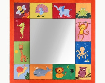 SALE - Hand-painted wooden frame mirror