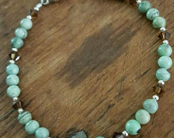 Small Green Chrysoprase Gemstone, Swarovski Crystals and Sterling Silver Bracelet, Small Chrysoprase and Sterling Silver Gemstone Bracelet
