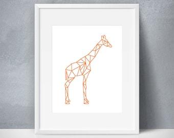 Giraffe, Geometric Art, Zoo Animal, Wildlife, Orange, Modern, Children's Art, Nursery Art, Printable Wall Decor, HOLIDAY GIFT SALE