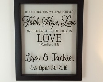 Personalized Gift, 1 corinthians 13, Wedding, Wedding Gift Ideas, Faith Hope Love, Wedding Gifts, Gifts for Couple, Established Sign, Name