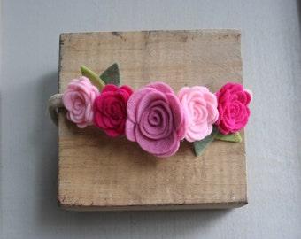 Felt Flower Crown- Pink