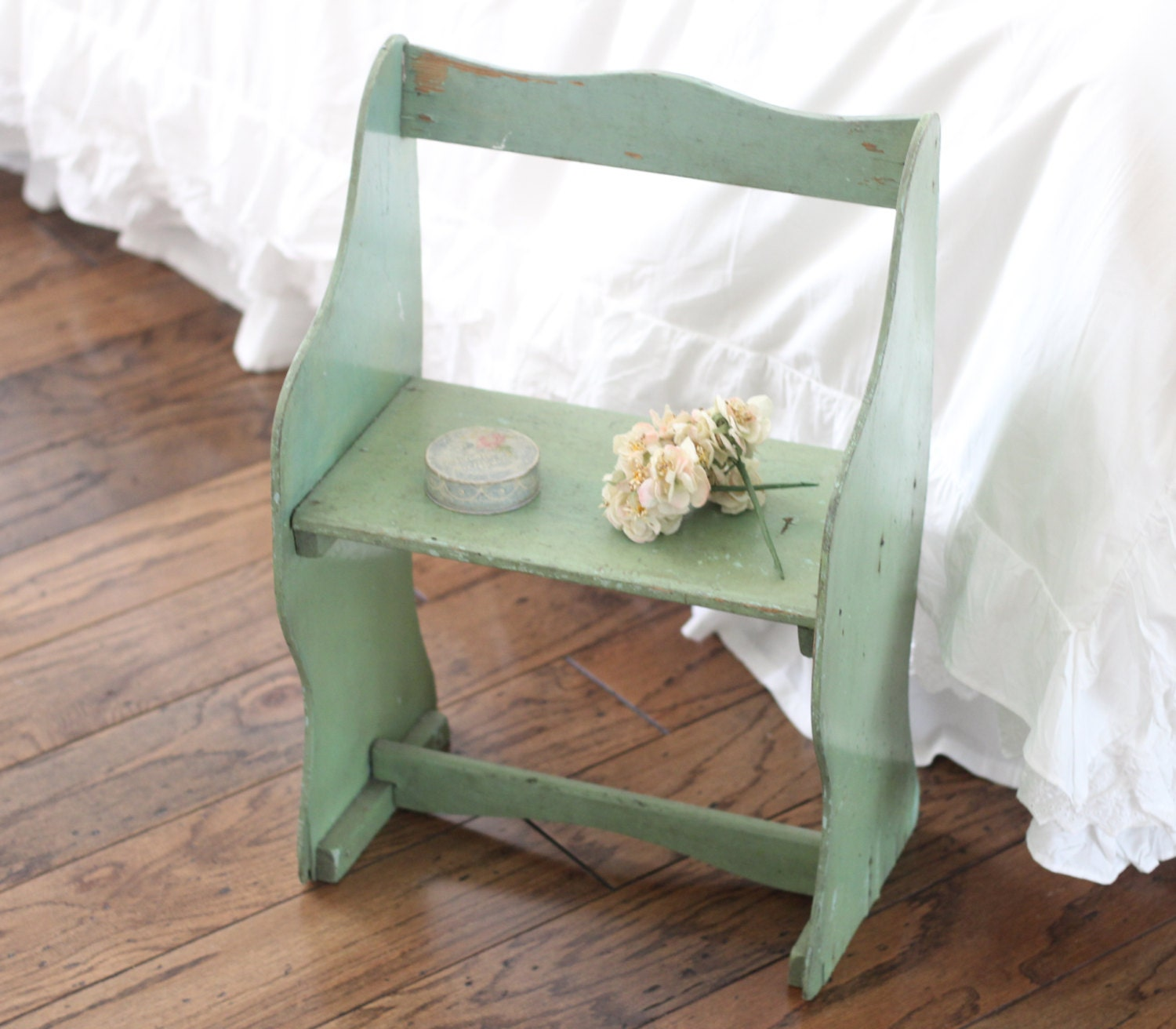 antique child 39 s bench shabby chic stool chippy by. Black Bedroom Furniture Sets. Home Design Ideas