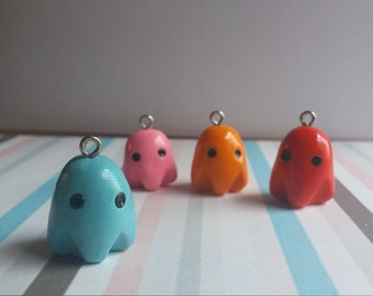 Pacman Ghosts - polymer clay chrams of Inky, Blinky, Pinky, and Clyde