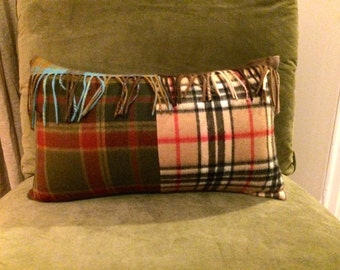 Multi-Tartan Plaid Cashmere Pillow