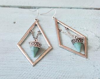 Antique silver earrings. Turquoise earrings. Boho earrings. Bohemian earrings. Tribal earrings. Long dangle earrings.