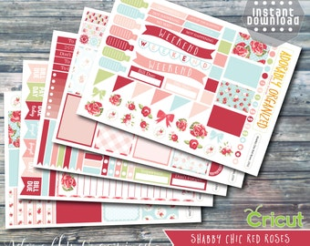 Shabby Chic Red Roses,Printable PLANNER STICKERS,Planner Sticker Kit,Erin Condren Planner Stickers,png,printable,stickers,CRICUT,cut files