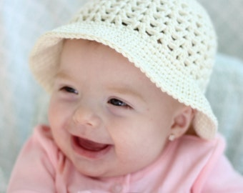 Sweetie Pie Sun Hat Girls Crocheted Cotton Sun Hat, Easter Bonnet, Many Colors to choose from, Baby, Toddler, Kid Sizes Available