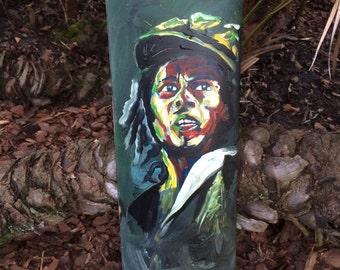 Hand painted skateboard Bob Marley