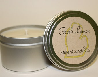 Fresh Lemon Scented Soy Candle Tin or Wax Melt - Spring & Summer Fresh Scent - 4 or 8 ounce