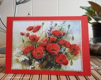 Greeting card with poppies in collage on a map red, for any occasion, without text.