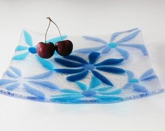 Plate Blue flowers. Fused glass plate. Handmade by ArtSmil