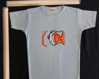 Rainbow Fish - hand painted shirt - Size M