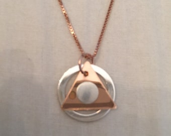 Friends of AA! Rose gold layered with sterling silver.