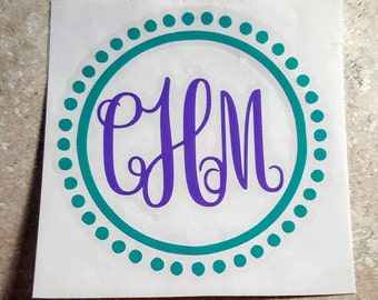 Circle Polka Dot Monogram Yeti Decal