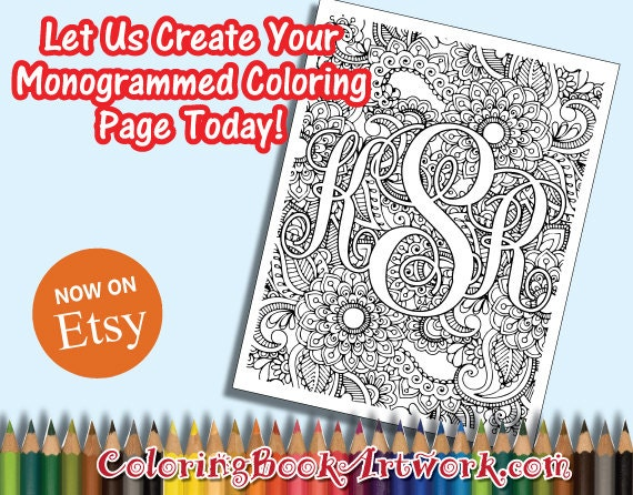 monogrammed paisley print custom personalized initials printable adult coloring book page emailed jpg pdf or shipped - Personalized Coloring Book