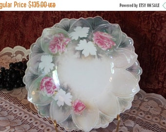 End Of Summer SALE Antique R.S. Prussia Large Serving Bowl - Pastel Green with Pink Roses, Green Wreath Red Mark