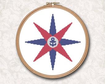 Nautical Ship Star Red Blue Anchor Beach Art Counted Cross Stitch Pattern - PDF Digital Download