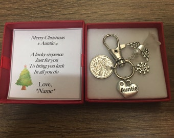 Auntie christmas sixpence coin keyring handbag charm - Aunt, great Aunt
