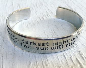 Inspirational quote bracelet - Christmas Gift - Victor Hugo quote - Even the darkest night will end - Hope bracelet