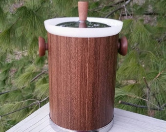 Kromex faux wood ice bucket