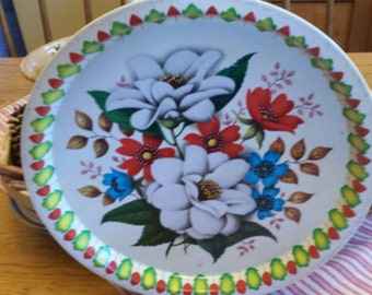 """Flowered """"Elite trays"""" made in England"""