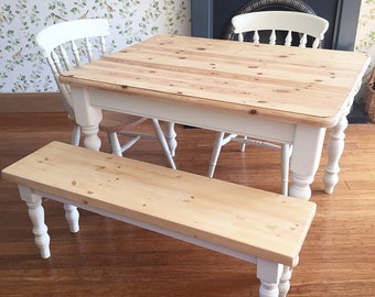 Pine Table  4ft Solid Pine Farmhouse Dining table  2 Farmhouse Chairs and a  4ftPainted Chairs Mismatched Shabby Chic Chairs Set Of four. Hand Painted Dining Table And Chairs. Home Design Ideas