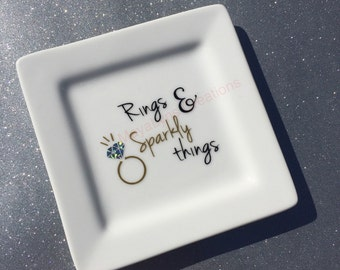 Ring Dish, jewelry dish, Rings and Sparkly Things, wedding gift