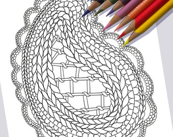 ONE PAISLEY Coloring Page / Printable Coloring Page / Drawing of Knitting / PDF Paisley Art