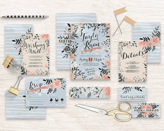 "Printable Wedding Invitation Suite ""Snowfall"" - Printable DIY Invite, Affordable Wedding Invitation"