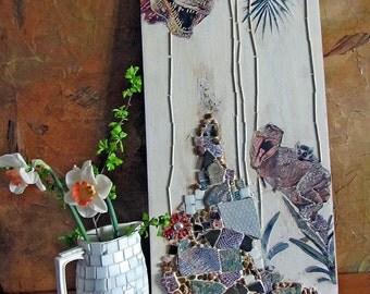 Art panel, mosaic, mixed media, Jurassic