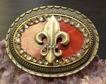 Fleur De Lis Belt Buckle, Red Leather, Silver and Brass Tone, Ornate Detail, Fashion Buckle, Detailed Accessories, Crystal Detail
