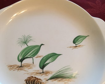 Rare W.S.George Art Deco Dinner Plate, Forest Floor Pattern.