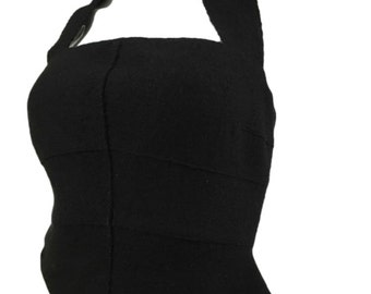 Vintage Chanel 100% Wool Halter Corset Top 8 Black 36 1990s