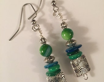 Shades of Green Silver Earrings