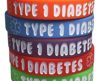 Kid's Diabetes Bracelets Type 1 Medical ID Silicone Alert Awareness(Pack of 5)