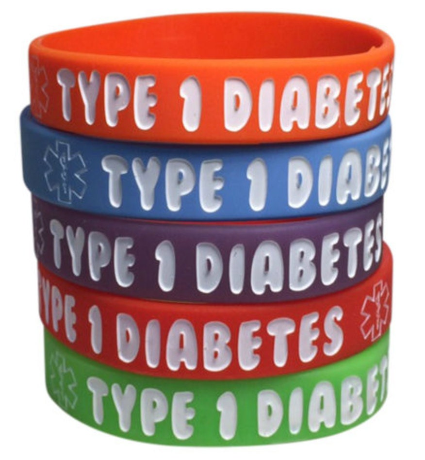 Kid's Diabetes Bracelets Type 1 Medical ID Silicone Alert