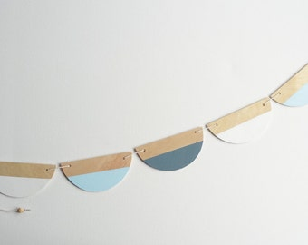 Half circle bunting-slate/sky blue/white
