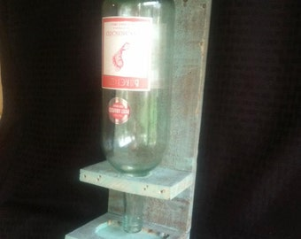 Wine bottle bird feeder - green stain