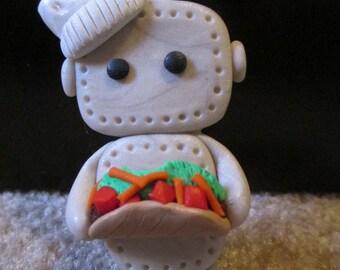 Polymer clay Chef robot refrigerator magnet