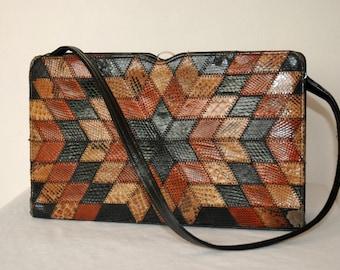 ACKERY OF LONDON vtg patchwork snake skin reptile leather shoulder bag