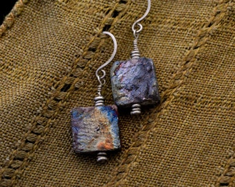 Raku-fired clay earrings