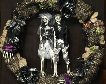 "24"" Halloween ""just dead"" burlap wreath"