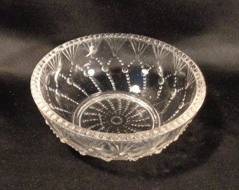 Vintage Small Hobnail Rimmed Clear Glass Bubble Fan Bowl, Mint / Nut Bowl, Trinket Dish